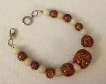 Red and Cream Beaded Bracelet