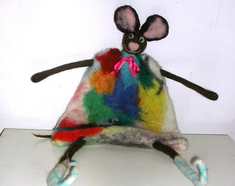 felted wool carded by hand puppets