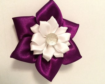Purple and white flower barrette