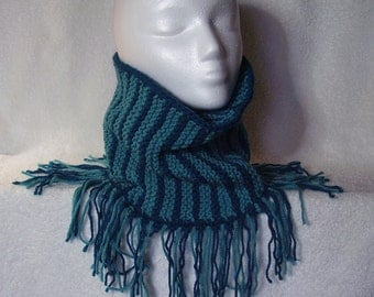 Teal Striped Cowl with Fringe