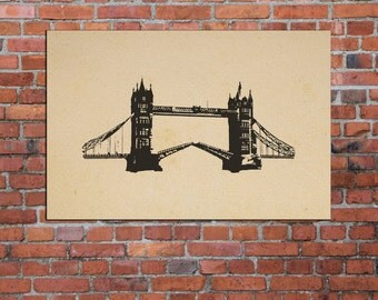 Tower Bridge, London England, Home Decore, Printable Art, Ink Blot, Instant Download, 10x8