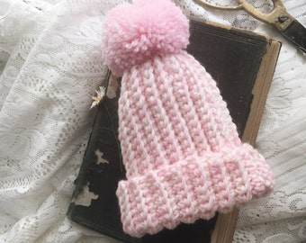 Chunky Knit Newborn Baby Beanie {Blossom/Snow colourway}