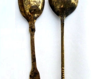 Ancient roman period bronze spoons