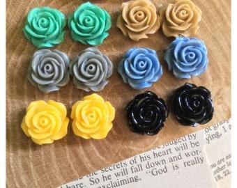 12mm Handmade Rose Earrings