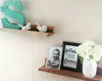 Reclaimed Pallet Shelves (set of 2), Decorative Shelves, Shelf Ledge