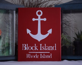Hand Painted Canvas Sign, custom Anchor sign, Rhode Island, Coastal, Block Island, wedding gift, personalized, beach sign, home sign, chic