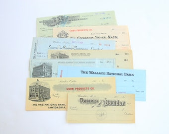 Set of 8 Vintage and Antique Checks - Ephemera - Vintage Office Supplies - Altered Art - Mixed Media - Assemblage - Scrapbooking