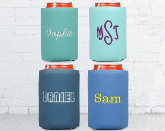 monogram solid can coolers, monogrammed and embroidered drink holder