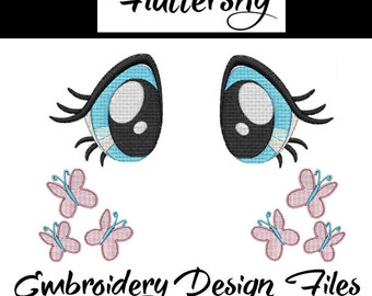 Flutter shy eyes Embroidery File