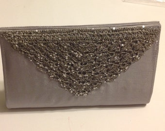 Sequins Clutch Bag - Gray and Silver