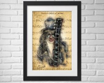 Slash Poster - Illustration [Slash Guitar Poster / Slash Poster / Slash / Guns N Roses]