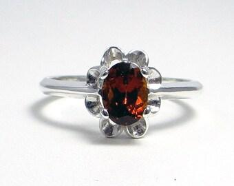 Hessonite Garnet Ring Sterling Silver