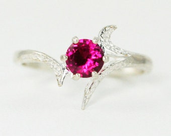 Pink Sapphire Ring Sterling Silver, September Birthstone Ring, Pink Sapphire Solitaire Ring, 925 Pink Sapphire Ring, 925 Sterling Ring