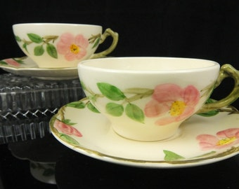 Vintage Franciscan Desert Rose Cup and Saucer, Coffee and Tea, Made in USA, 1949 to 1953, 6 Sets Available