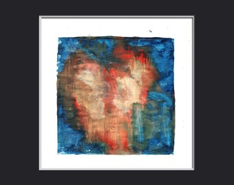 Wedding gift Anniversary gift encaustic painting HEART SONG 1.3 monoprint original art red blue gold