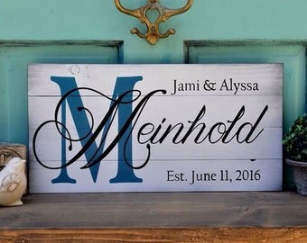 Custom Painted White Washed Wood Sign Shiplap Family Name and Anniversary Date