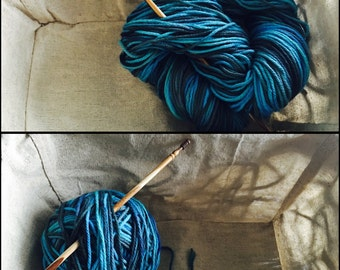 "Hand Dyed Cotton Yarn- ""Abyss"""