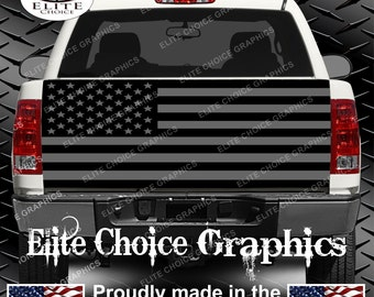 American Flag Black and Grey Truck Tailgate Wrap Vinyl Graphic Decal Sticker Wrap