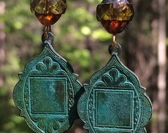 Art Deco earrings, Verdigris patina, Crystal earrings, ethnic, tribal, patina jewelry, Boho, dangle earrings