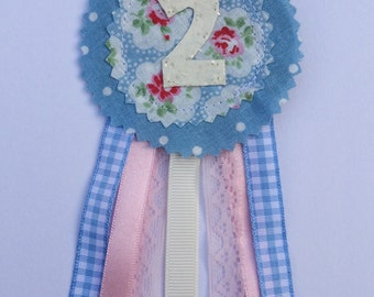 Birthday Two badge rosette. Handmade blue and white glitter, hand embroidery, keepsake