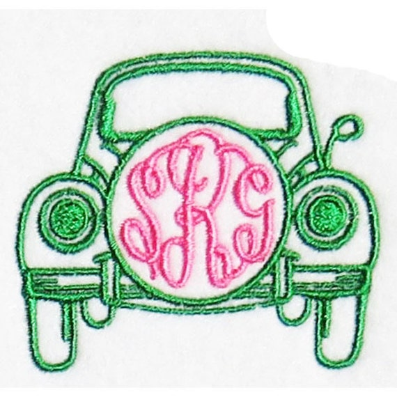 Vw bug monogram frame embroidery designs