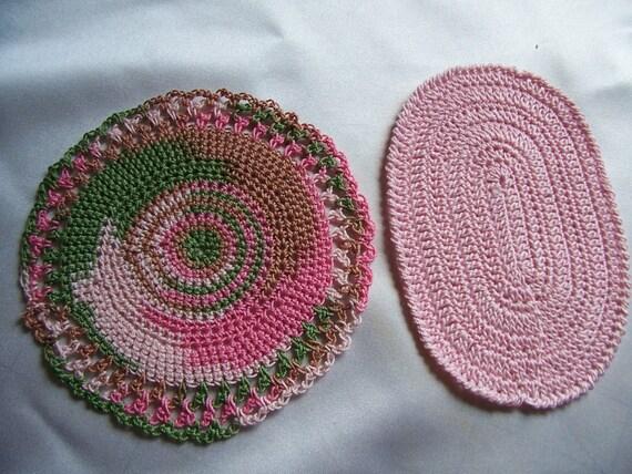 Star Wars Crochet Doll Pattern : Miniature Rug-Crochet Rugs-Dollhouse Rug Set-Pink and Pink