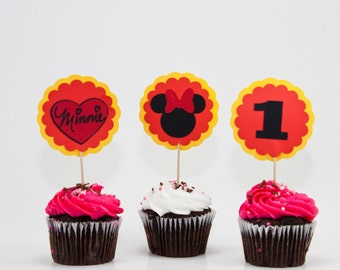 Cupcake Toppers, MINNIE MOUSE Cupcake Toppers, Minnie Mouse Party Decorations, Minnie Mouse, Party Decorations, Birthday Supplies