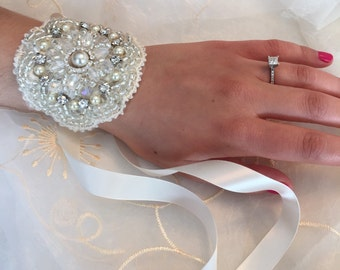 Pearl and Crystal Hand Beaded Wedding Cuff Bracelet