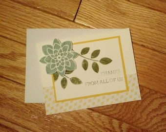 Thank you card, thanks card, Thank you from us card, Appreciation card, Thanks from us, Stampin up, Greeting card, Hand stamped card