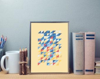 Summer Geometric Print, Geometric print art,  Mid century print,  Abstract print,  geometric art,  mid century art,  mid century modern