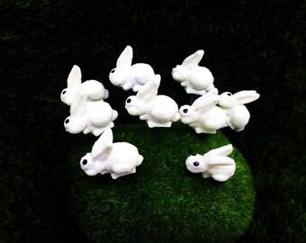 5 Terrarium Mini White Rabbit Stake Miniature Dollhouse Fairy Garden#02
