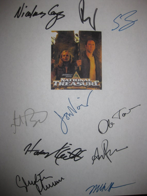 National Treasure Signed Film  Movie Script Screenplay X10 Autograph Nicolas Cage Diane Kruger Sean Bean Jon Voight Harvey Keitel Plummer