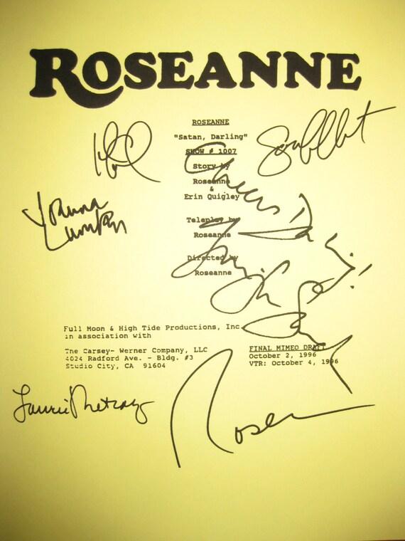 Roseanne Signed TV Script Screenplay X6 Autographs Absolutely Fabulous Roseanne Barr Joanna Lumley Laurie Metcalf John Goodman Sara Gilbert