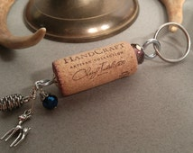Wine Cork Keychain with Deer Charm and Key Ring *Recycled Wine Corks *Wine Gift *Wine Charm * Bridesmaid Gift *Bartender Gift *Teacher Gift
