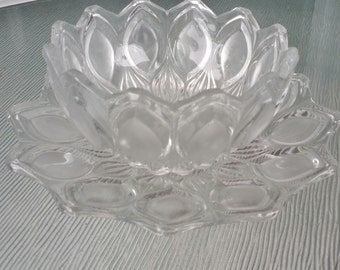Beautiful vintage cut glass bowl & under plate set. French. unique design.