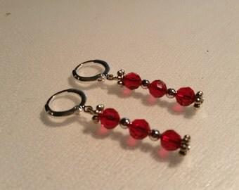 Dangling earrings 925 Silver rings, red ties