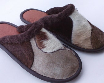 leather fur slippers