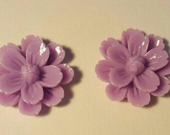 2 extra large purple cabochon flowers