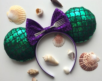 Little Mermaid Ariel Mickey Minnie Mouse Ears Headband Head Band Dinglehopper