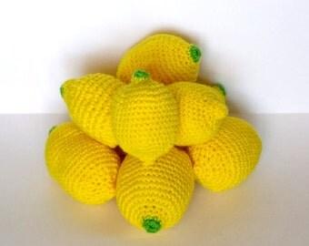 Crocheted Lemons Lemons Lemon Decor Crochet Crochet Decor Fruit Yellow