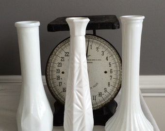 Set of 3 Milk Glass Vases