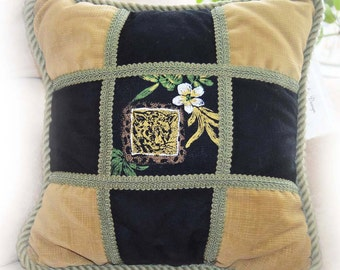 "African Leopard/Pair of Decorative pillows/2 handmaid pillows/black sage gold tones/ultra soft/14""x14""/FREE SHIPPING"