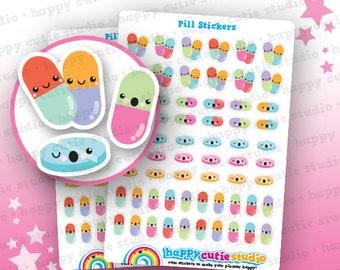 62 Cute Pill/Medicine/Tablet Planner Stickers, Filofax, Erin Condren, Happy Planner,  Kawaii, Cute Sticker, UK