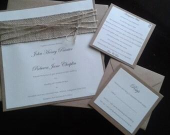 Rustic Burlap wedding invitations (20)