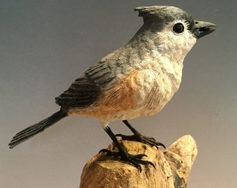 Tufted Titmouse Woodcarving