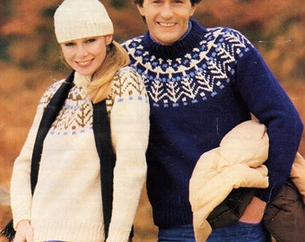 His & Hers Fair Isle Sweater, Knitting Pattern. PDF Instant Download.