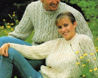 Ladies And Mens Aran Cable With Round Neck Sweater, Knitting Pattern. PDF Instant Download.