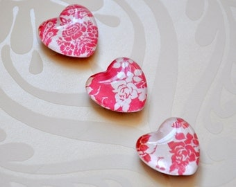 Set of 3 Decorative Fridge Magnets - Red & White Rose Design