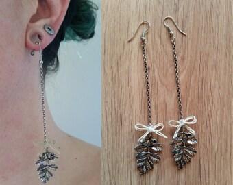 Earrings oak leaves