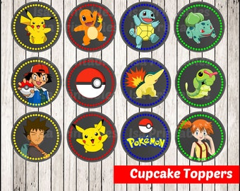 80% OFF SALE Pokemon Chalkboard Cupcakes Toppers instant download, Printable Pikachu party cupcakes Topper, Chalkboard Pokemon toppers